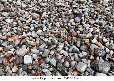 Background Made Of Little Stones On The Beach. Decoration Made Of Colorful Stones. Colorful Stones O