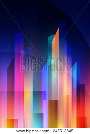Night City With Neon Glow And Vivid Colors In The Style Of Minimalism And Low Poly. Vector Illustrat