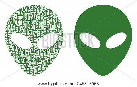 Alien Face Collage Icon Of Zero And Null Digits In Randomized Sizes. Vector Digit Symbols Are Combin