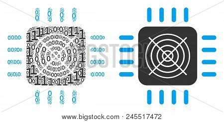 Asic Processor Mosaic Icon Of One And Zero Digits In Randomized Sizes. Vector Digital Symbols Are Sc