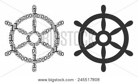 Boat Steering Wheel Collage Icon Of Binary Digits In Variable Sizes. Vector Digital Symbols Are Orga