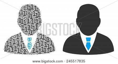 Boss Collage Icon Of Zero And Null Digits In Randomized Sizes. Vector Digit Symbols Are Scattered In