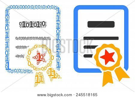 Certificate Mosaic Icon Of Zero And Null Digits In Variable Sizes. Vector Digital Symbols Are United
