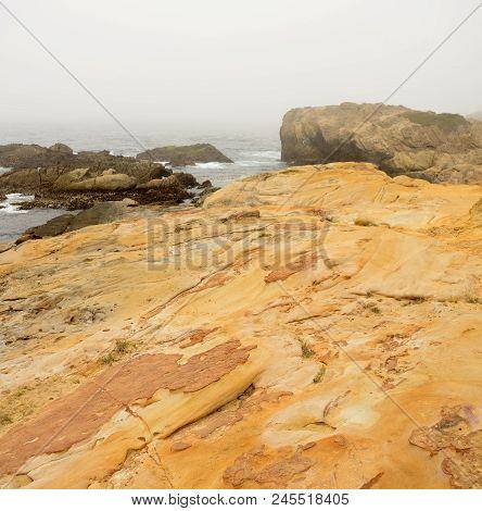 Foggy Day Pacific Ocean Asilomar State Marine Reserve Monterey California
