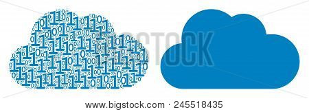 Cloud Composition Icon Of Binary Digits In Variable Sizes. Vector Digit Symbols Are Organized Into C