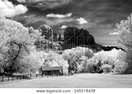 Infrared Black And White Cathedral Rock And Old Farm Buildings Sedona Arizona