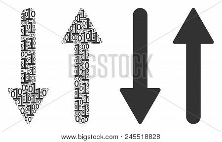 Exchange Arrows Composition Icon Of Zero And Null Digits In Various Sizes. Vector Digital Symbols Ar