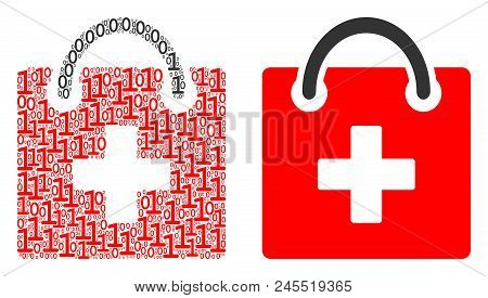 First Aid Kit Composition Icon Of Zero And Null Digits In Various Sizes. Vector Digits Are Organized