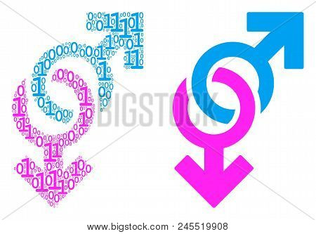 Gay Symbol Collage Icon Of Zero And One Symbols In Randomized Sizes. Vector Digit Symbols Are Arrang
