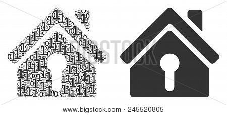 Home Keyhole Composition Icon Of One And Zero Digits In Variable Sizes. Vector Digital Symbols Are G
