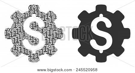 Industrial Capital Collage Icon Of Binary Digits In Various Sizes. Vector Digits Are Organized Into