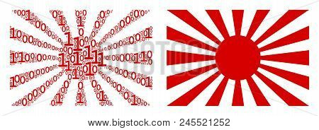 Japanese Rising Sun Composition Icon Of One And Zero Digits In Randomized Sizes. Vector Digit Symbol