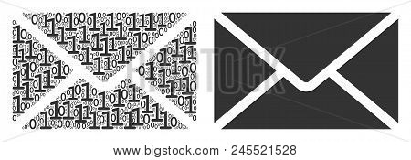 Mail Envelope Mosaic Icon Of Zero And One Symbols In Different Sizes. Vector Digital Symbols Are Com