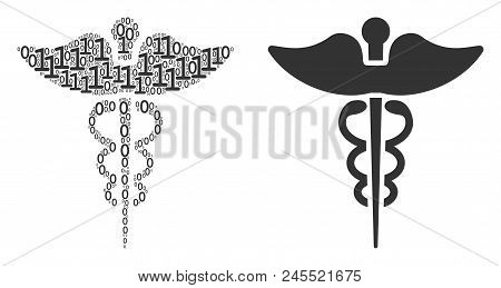 Medicine Caduceus Symbol Mosaic Icon Of One And Zero Digits In Random Sizes. Vector Digits Are Forme