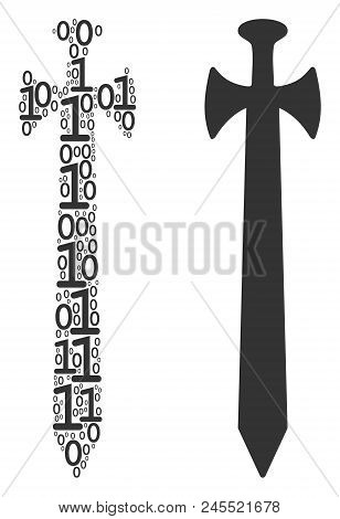 Medieval Sword Composition Icon Of Zero And Null Digits In Various Sizes. Vector Digital Symbols Are