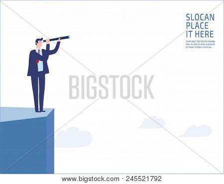 Businessman Standing On A Cliff. Looking Through Monocular Into The Futurebusiness Vision And Vision