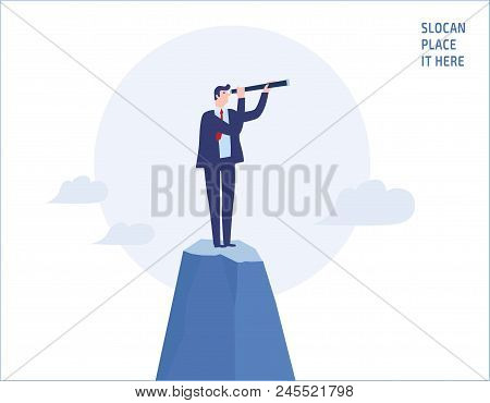 Businessman Looking Through Telescope On Top Of The Mountain.goals, Success, Achievement And Challen