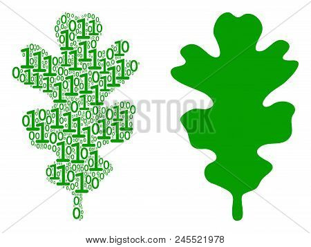 Oak Leaf Composition Icon Of Binary Digits In Randomized Sizes. Vector Digit Symbols Are Grouped Int