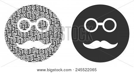Pension Smiley Mosaic Icon Of Zero And Null Digits In Randomized Sizes. Vector Digit Symbols Are For