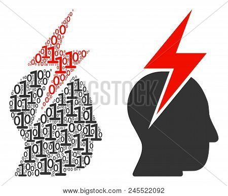 Person Stress Strike Mosaic Icon Of Binary Digits In Various Sizes. Vector Digit Symbols Are Formed