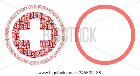 Pharmacy Composition Icon Of Zero And One Symbols In Variable Sizes. Vector Digits Are Combined Into