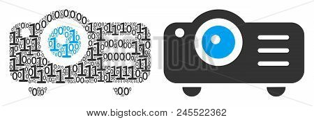 Projector Collage Icon Of Zero And One Symbols In Randomized Sizes. Vector Digits Are Organized Into