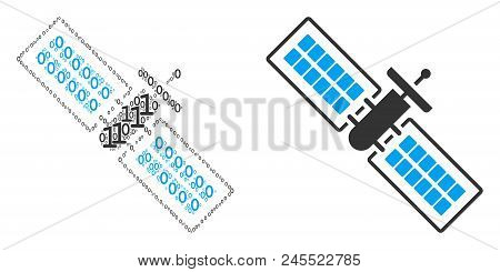 Satellite Collage Icon Of Binary Digits In Variable Sizes. Vector Digital Symbols Are Composed Into