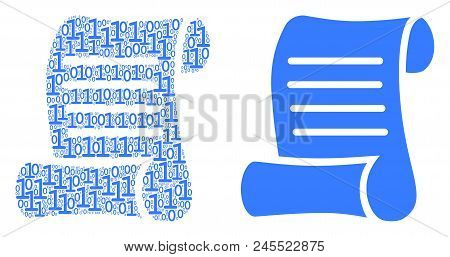 Script Roll Composition Icon Of Binary Digits In Randomized Sizes. Vector Digit Symbols Are Arranged