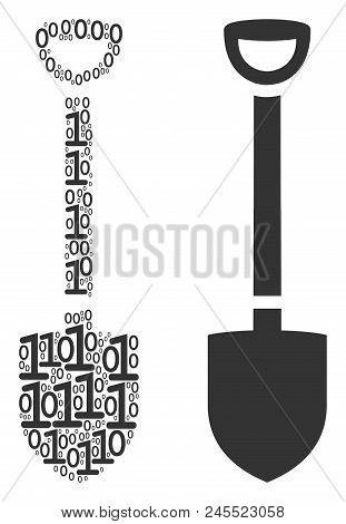 Shovel Composition Icon Of One And Zero Digits In Variable Sizes. Vector Digit Symbols Are Composed