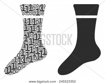 Sock Composition Icon Of Zero And Null Digits In Various Sizes. Vector Digital Symbols Are Organized