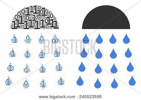Spray Stream Mosaic Icon Of Zero And Null Digits In Random Sizes. Vector Digital Symbols Are United