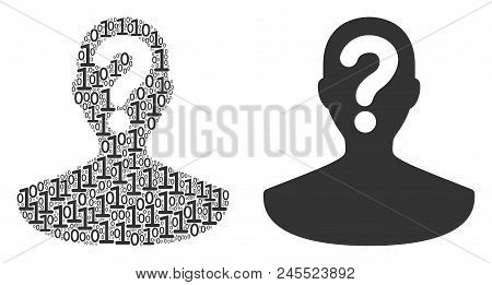 Unknown Person Mosaic Icon Of Binary Digits In Different Sizes. Vector Digital Symbols Are Formed In