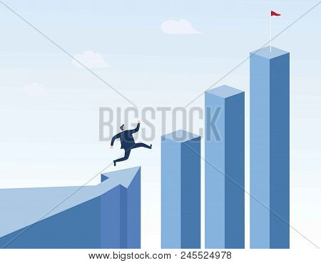 Businessman Running To The Top Of The Graph. Business Concept Of Goals, Success, Ambition, Achieveme
