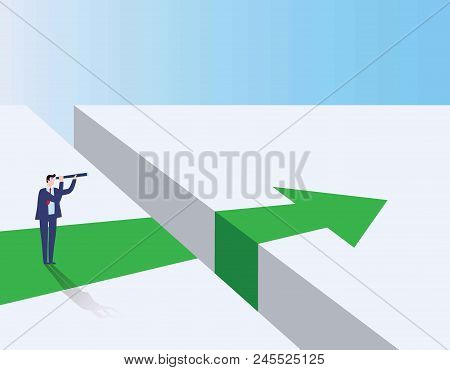 Business Visionary Vector Concept. Businessman Looking With Telescope Over Gap. Business Challenge,