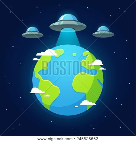 Alien Invasion, Flying Saucer Ufos Above Earth In Outer Space. Cartoon Vector Illustration.
