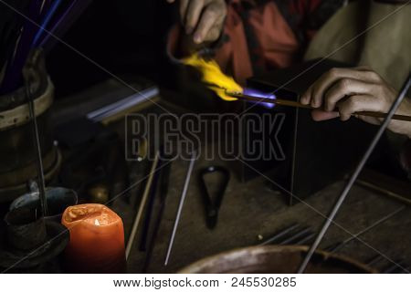 Blowing Glass In A Traditional Way, Art Detail