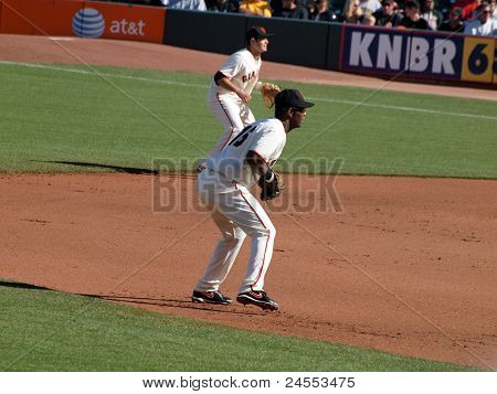 Giants Middle Infielders Edgar Renteria  And Freddy Sanchez Stand In Position Waiting For Play Actio