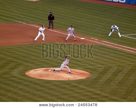Red Sox Daisuke Matsuzaka Throws Pitch With As Runner Taking A Lead From Firstbase