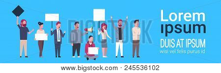 Business People Holding Empty Boards And Shouting At The Strike Action Blue Background Protection Of