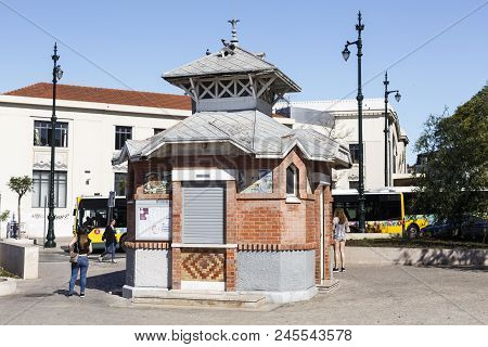 Lisbon - June 15, 2018:  Art Nouveau Kiosk, Built In Early Twentieth Century And Located In The Cais