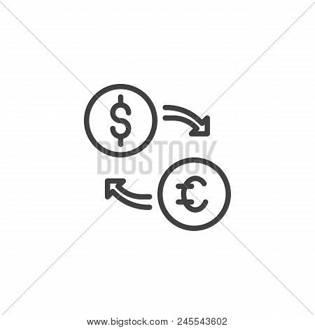 Currency Exchange Outline Icon. Linear Style Sign For Mobile Concept And Web Design. Exchange Euro A