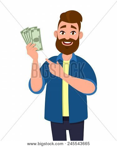Man Holding Cash In Hand And Pointing Towards That.