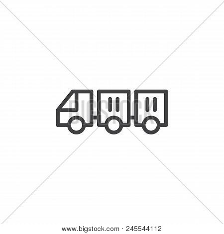 Freight Trolleys With Loaded Baggage Outline Icon. Linear Style Sign For Mobile Concept And Web Desi