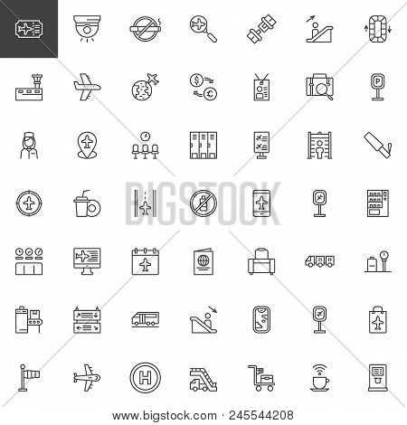 Airport Outline Icons Set. Linear Style Symbols Collection, Line Signs Pack. Vector Graphics. Set In