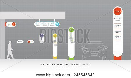 Exterior And Interior Signage White And Color Concept. Direction, Pole, Wall Mount And Traffic Signa