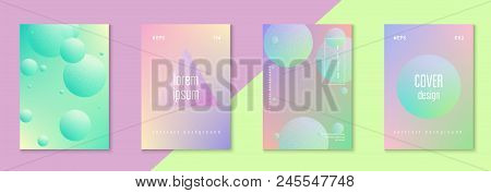 Fluid Poster Set With Round Shape. Gradient Circles On Holographic Background. Trendy Hipster Templa