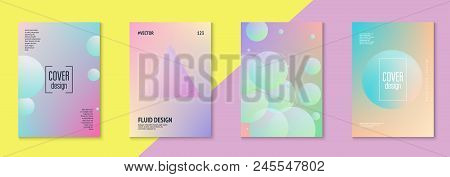 Cover Fluid Set With Round Shape. Gradient Circles On Holographic Background. Trendy Hipster Templat