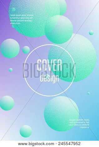 Holographic Fluid With Radial Circles And Halftone Dots Texture. Geometric Shapes On Gradient Backgr