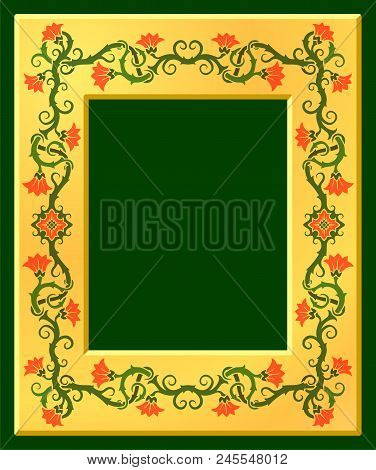 Beautiful Golden Frame With Floral Pattern On Green Background