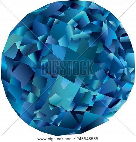 Beautiful Faceted Blue Gemstone Topaz On White Background
